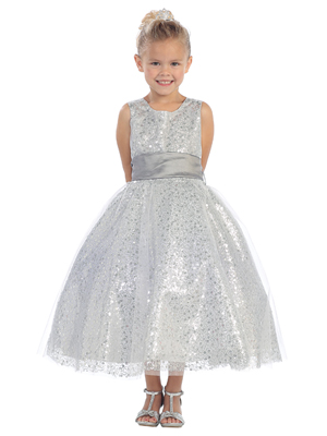 silver Little girls sequin dresses