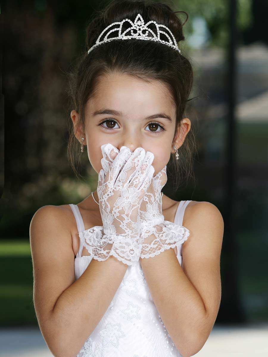girls short lace gloves