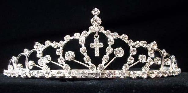 Rhinestone Tiara Head Piece with Dangling Cross