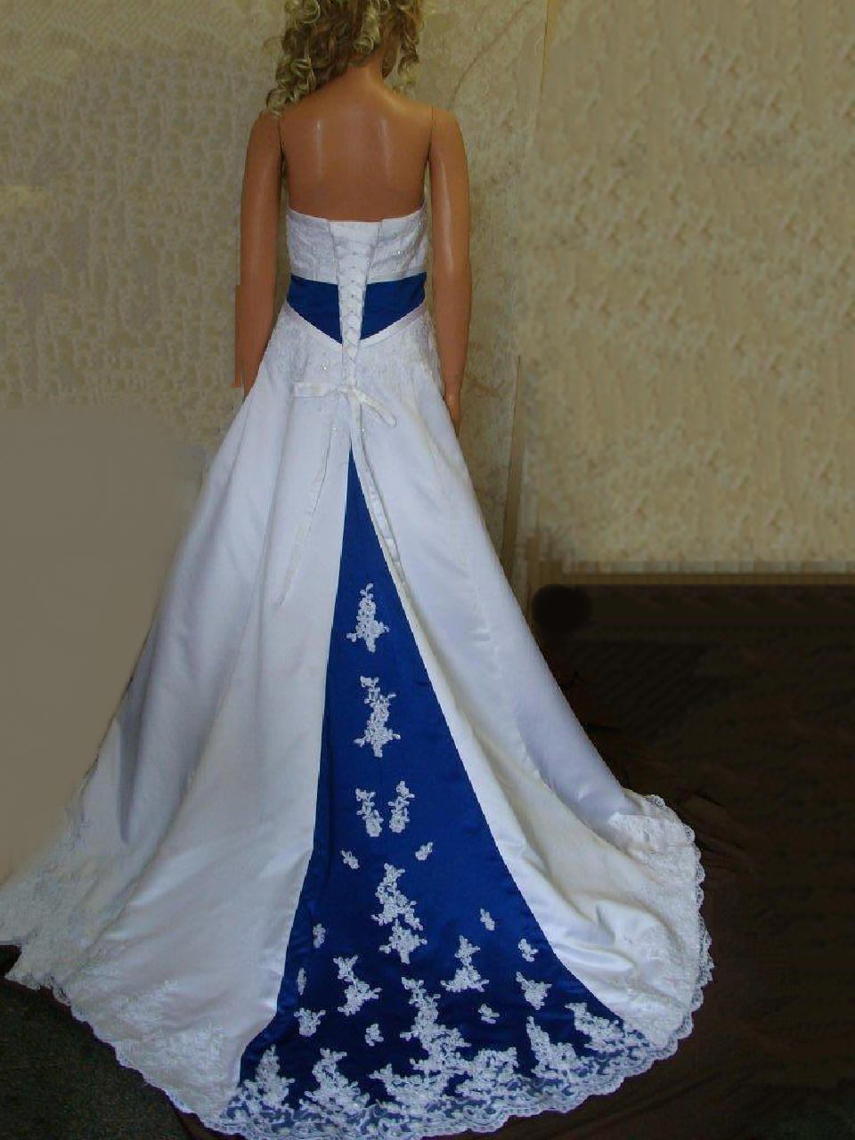 blue and white strapless wedding gown