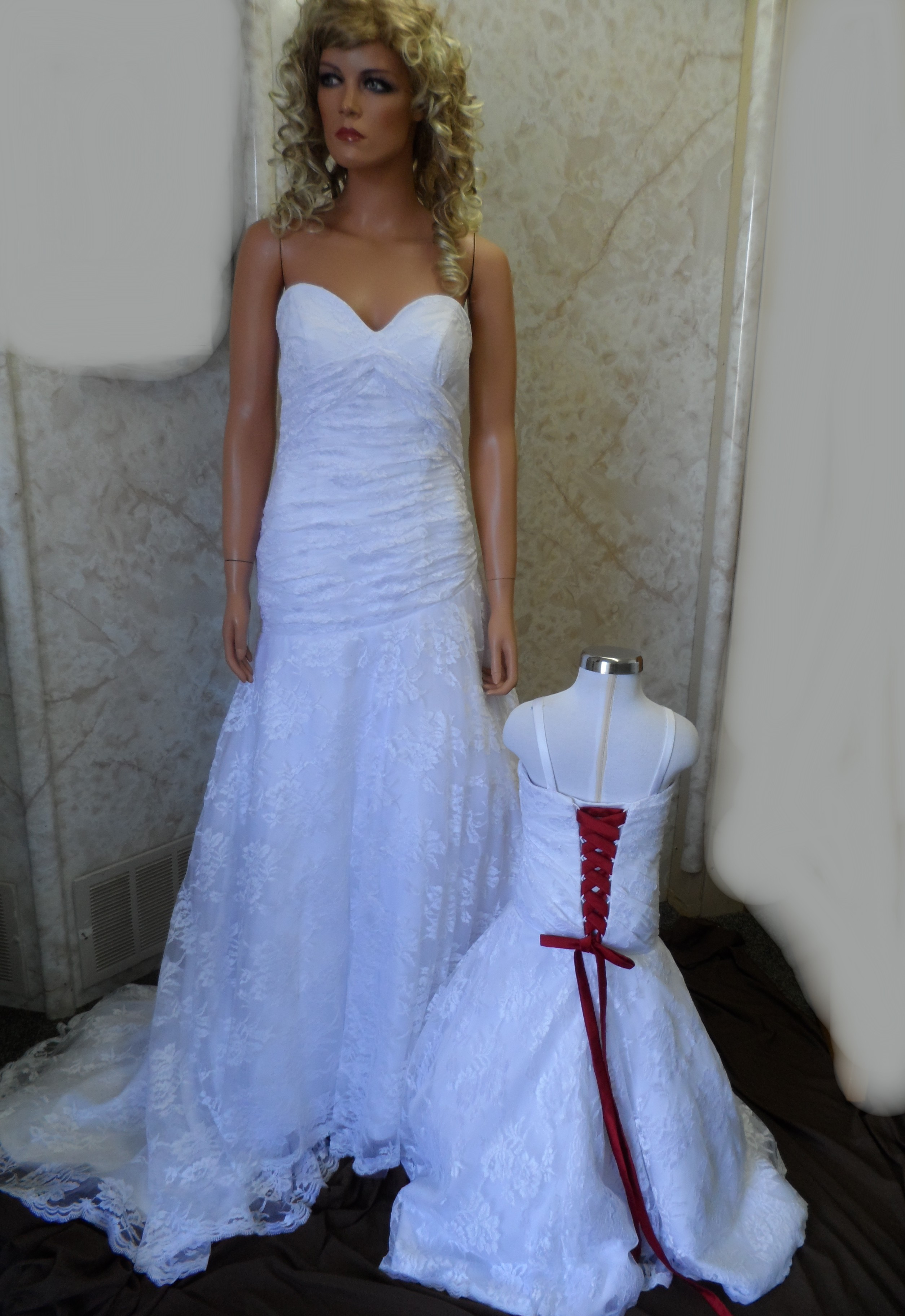 White lace wedding gown red corset lace up