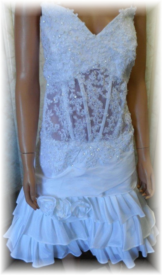 short lace wedding gown with see through bodice