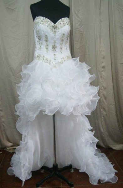 Sweetheart high low wedding dress with ruffled skirt
