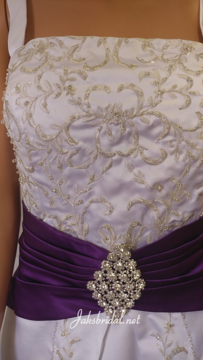 white wedding dress with purple