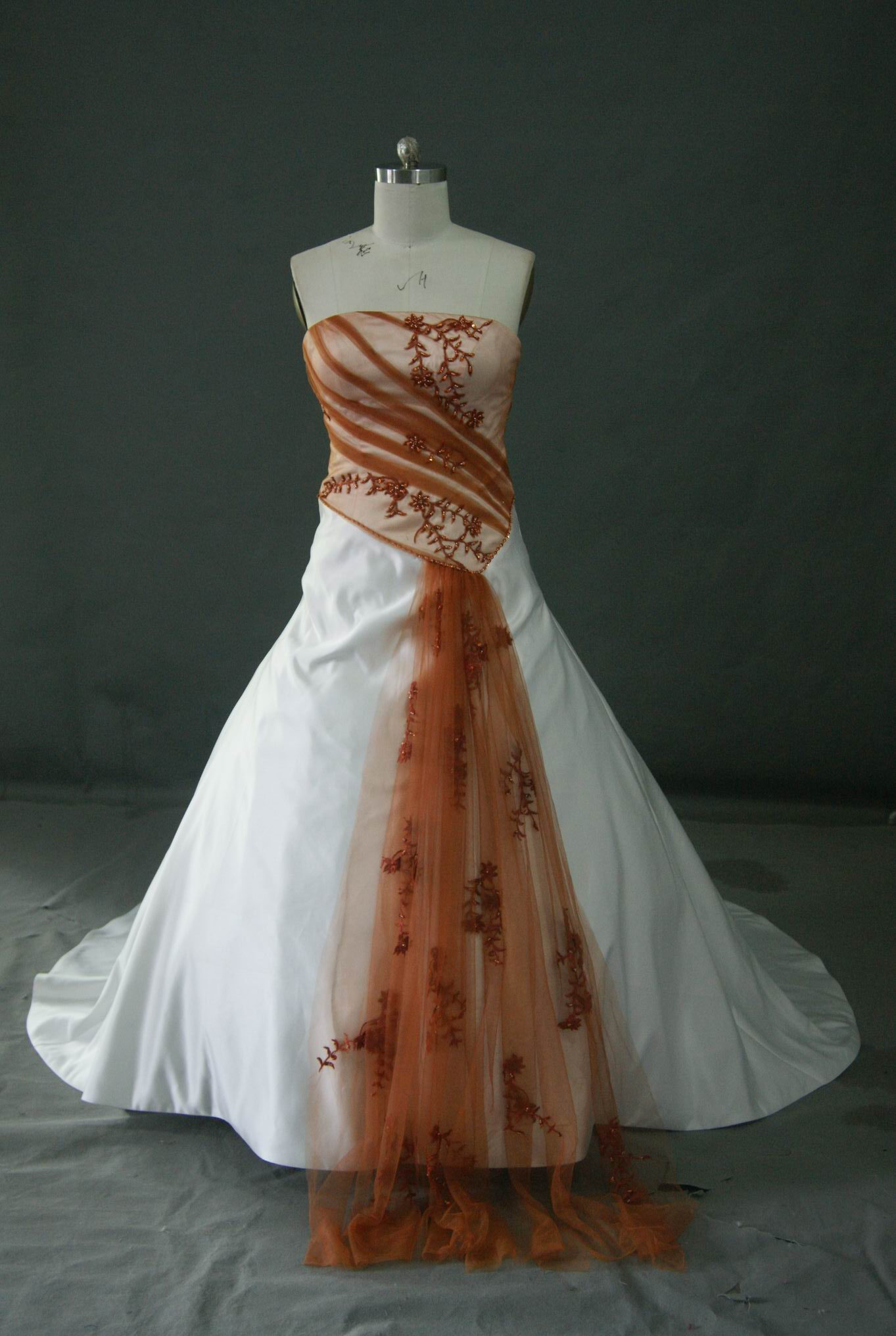 Orange And White Wedding Dress