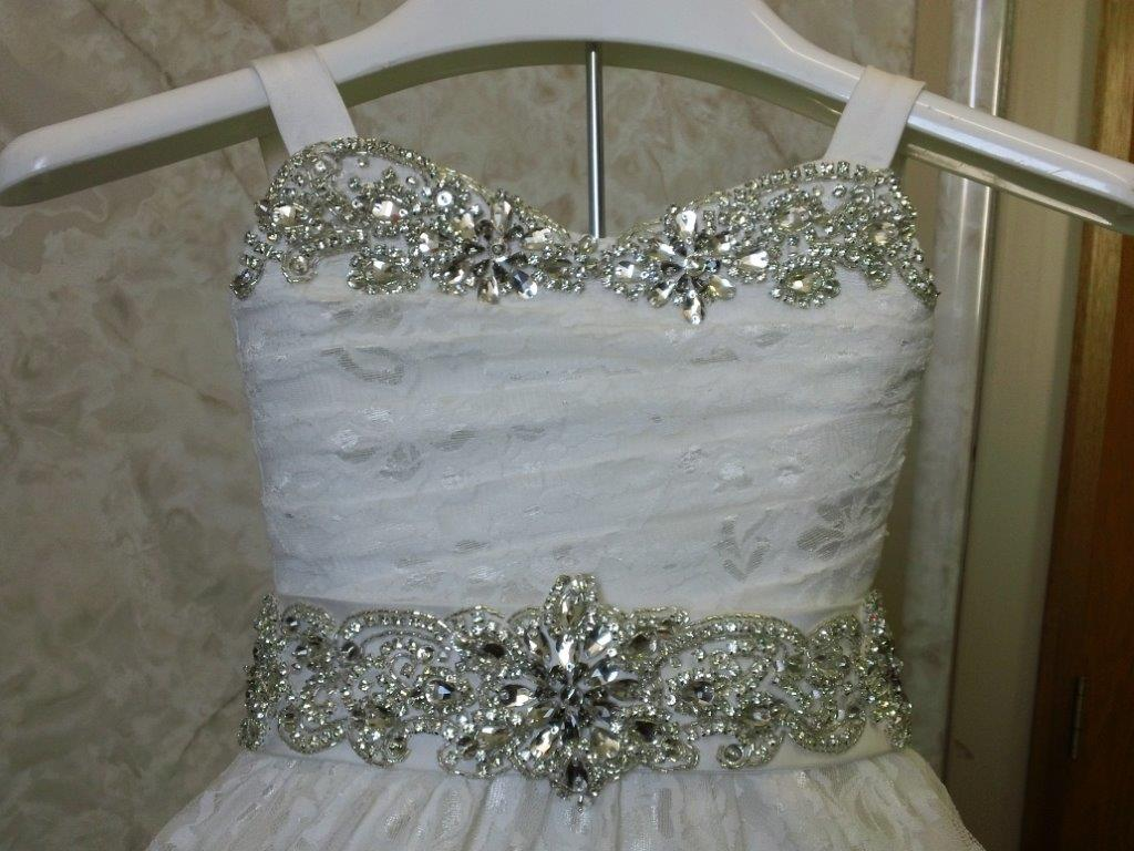 crystal  lavished toddler wedding gown