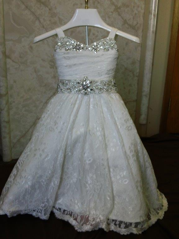 Lace jeweled infant flower girl gown