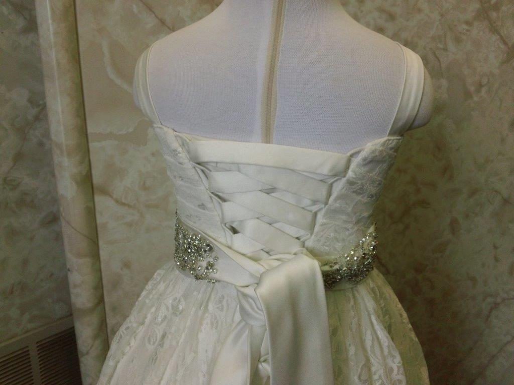 lace flower girl dress with corset back and jeweled sash