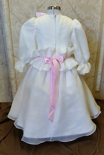 satin dress with pink organza flowers