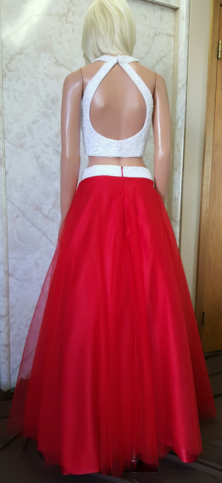 Red and white crop top prom dress.